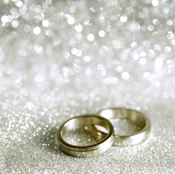 wedding bands on white sparkle background, wedding officiant
