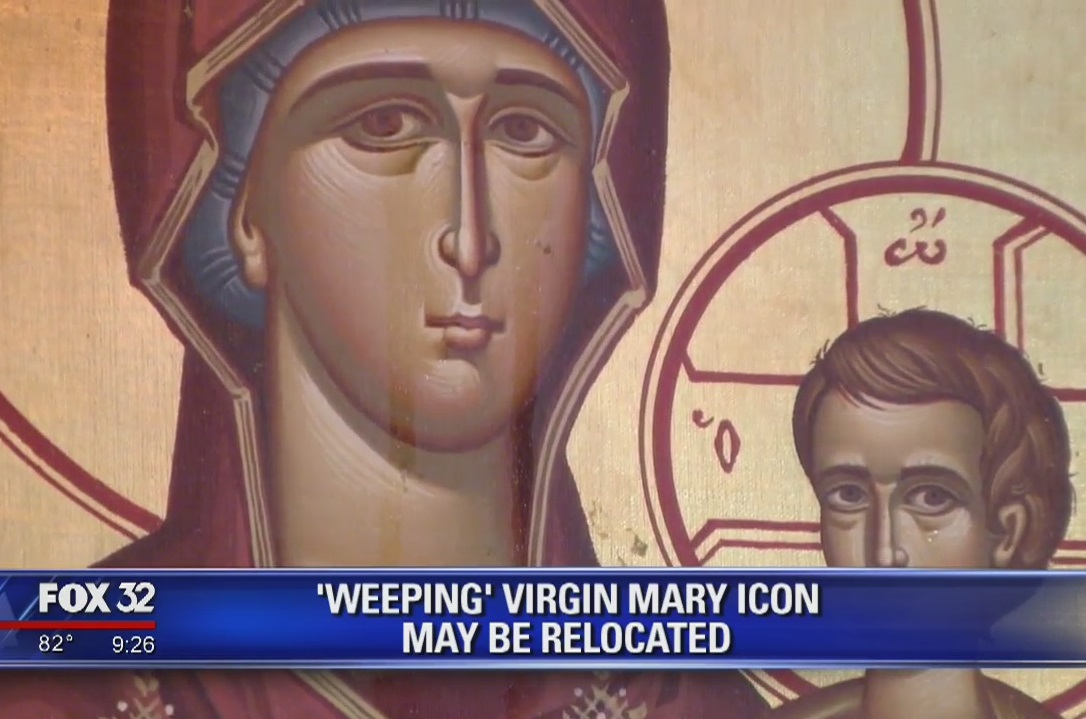 A Virgin Mary icon weeping