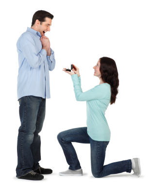 Woman Proposing to Man Wedding Marriage Proposal