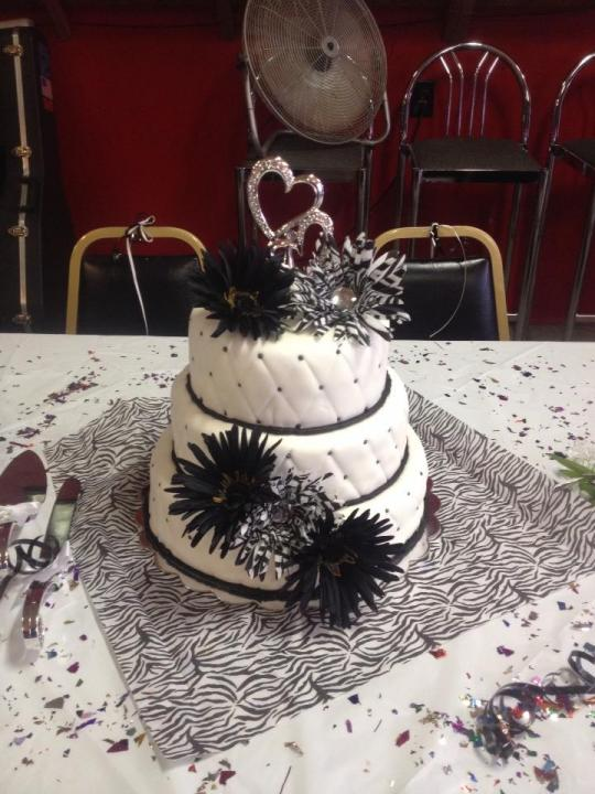An edgy black and white wedding cake.