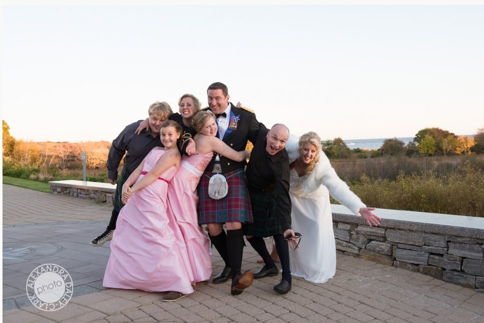 Wedding party embrace their traditional Scottish roots in this outdoor wedding.