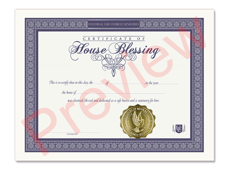 Certificate of House Blessing