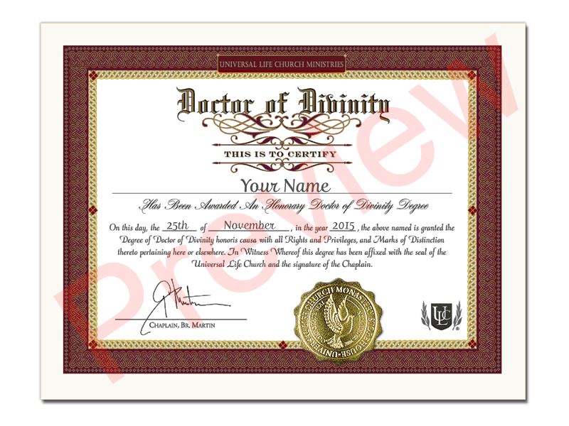 Honorary Divinity Degree