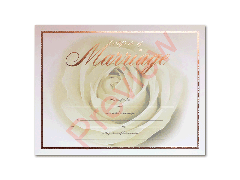 Premium Certificate of Marriage Big Rose