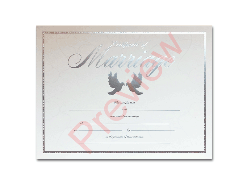 Premium Certificate of Marriage Doves