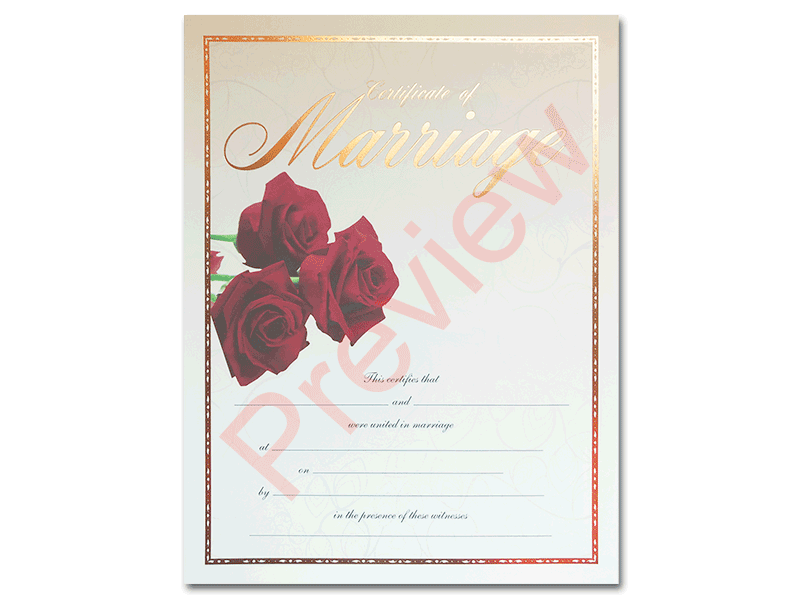 Premium Certificate of Marriage Red Roses