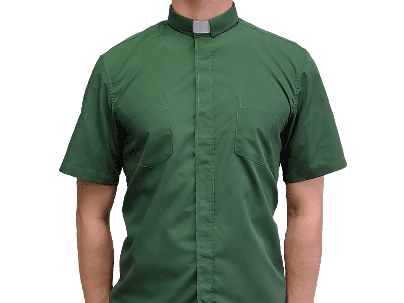 Short-Sleeve Clergy Shirt Green