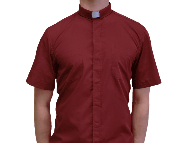 Short-Sleeve Clergy Shirt Red