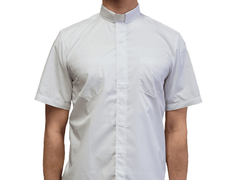 Short-Sleeve Clergy Shirt White