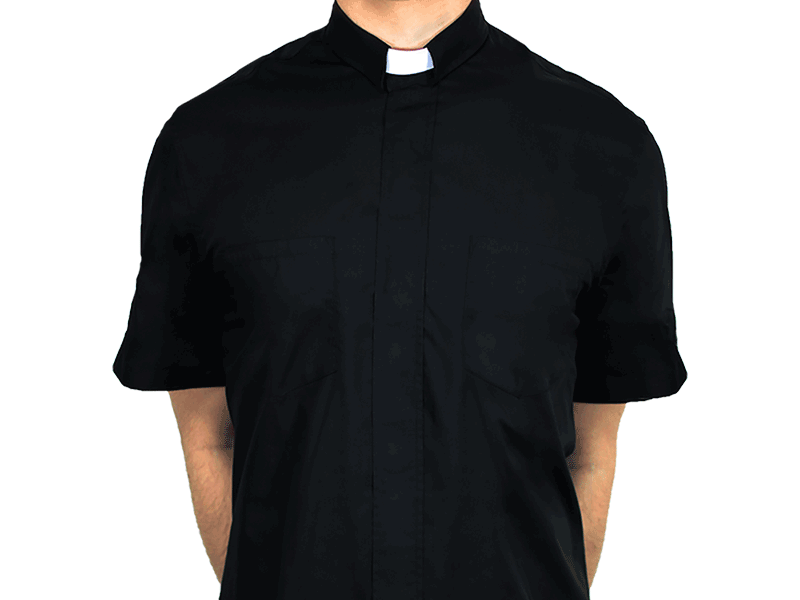 Short-Sleeve Clergy Shirt Black