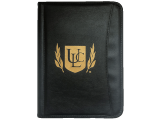 The Universal Life Church executive portfolio, featuring the church's gold symbol on a high-quality, faux-leather binder is perfect storage for paperwork.