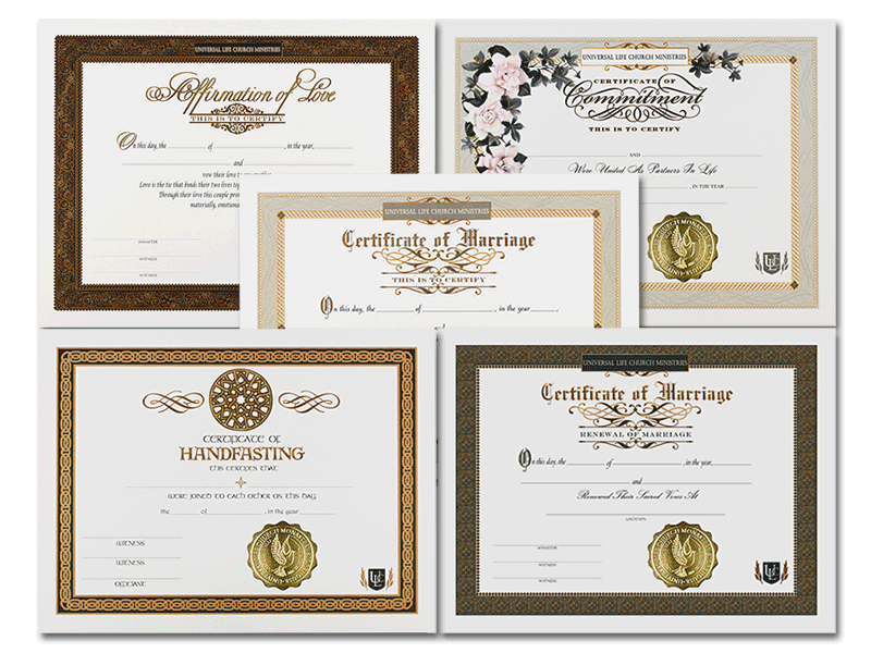Wedding Officiant Package Certificates