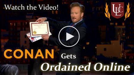 Conan O'Brien Gets Ordained, Becomes a Minister, Holding Universal Life Church Minister License