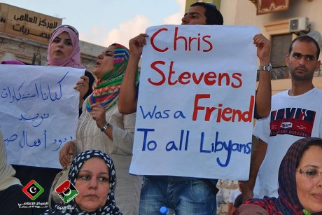 Libyan Holding Sign that says Chris Stevens, Friend to Libyans