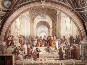 The School of Athens, Sanzio Raffaello 1504 - a prime example of the Humanist movement in art