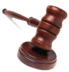 The gavel representing legal authority and right