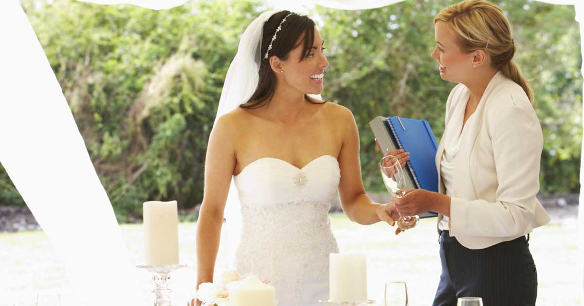 Bride and her wedding planner