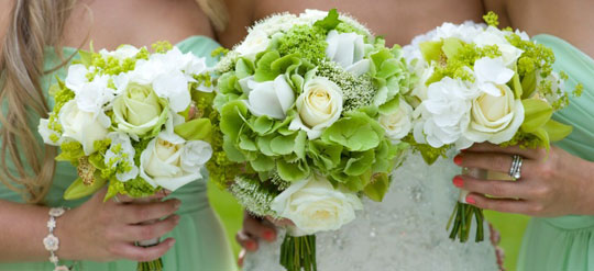 Three green bridal wedding bouquets