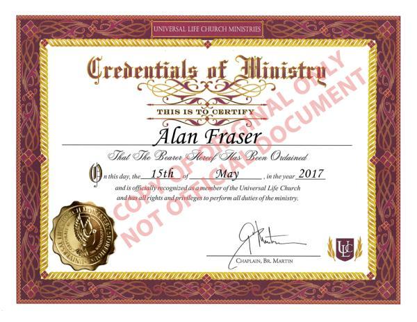 Ordination Receipt