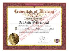 My Universal Life Church Ordination